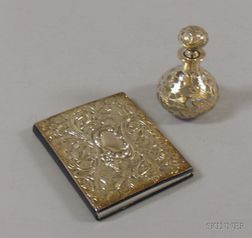 Silver Overlay Bottle and an English Silver-mounted Leather Address Book