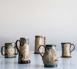 Five Doulton Lambeth Stoneware Sporting-decorated Vessels