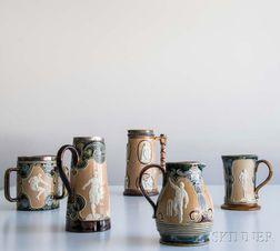 Five Doulton Lambeth Stoneware Sporting-decorated Vessels
