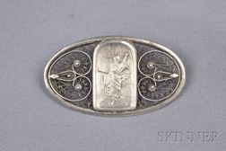 Arts & Crafts Sterling Silver Brooch, Bezalel, Jerusalem
