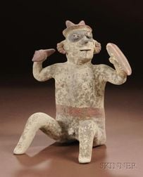 Pre-Columbian Polychrome Pottery Warrior Figure
