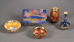 Five Staffordshire Lustre Items