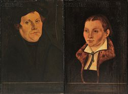 School of Lucas Cranach the Elder (German, c. 1472-1553)      Pair of Portraits:  Martin Luther