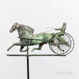 Molded Sheet Copper and Cast Zinc Horse and Sulky Weathervane