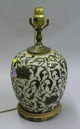 Asian Glazed Carved Porcelain Table Lamp.