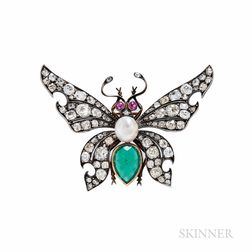 Antique Emerald and Diamond Butterfly Brooch