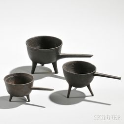 Three Small Cast Iron Posnets