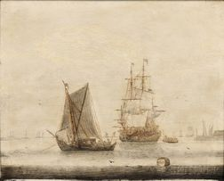 Cornelis Pietersz de Mooy (Dutch, 1630-1693)      Vessels in a Quiet Harbor
