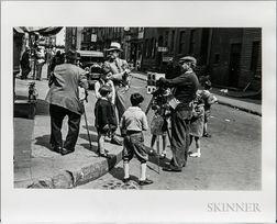 Walker Evans (American, 1903-1975)       Street Photographer with Children, Bleecker Street, New York City