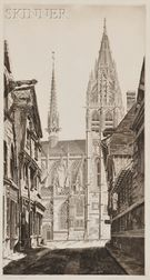 John Taylor Arms (American, 1887-1953)      Sunlight on Stone, Caudebec-en-Caux