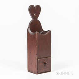 Red-painted Pipe Box with Heart Hanger