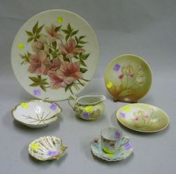 Eight Assorted Decorated Porcelain and Glass Articles