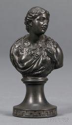 Miniature Wedgwood and Bentley Black Basalt Bust of Ariadne