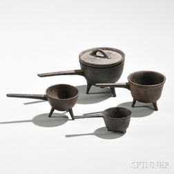 Four Miniature Cast Iron Posnets