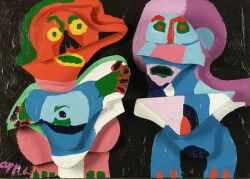 Karel Appel (Dutch/American, b. 1921)  Couple in Wood