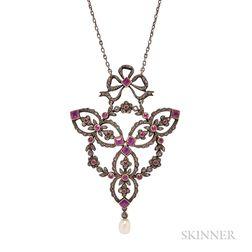 Belle Epoque Ruby and Diamond Pendant