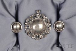 Arts & Crafts Sterling Silver Pendant/Brooch and Earclips, Kalo, Chicago
