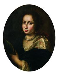 Italian School, 17th Century Style    Portrait of a Woman With a Crown and Mirror