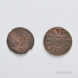 1787 Fugio Cent and a 1785 Nova Constellatio