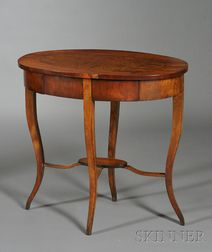Biedermeier Amboyna-inlaid Fruitwood Occasional Table