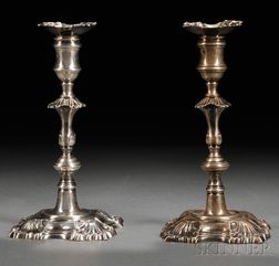 Harlequin Pair of Georgian Silver Candlesticks
