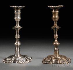 Harlequin Pair of Georgian Silver Candlesticks