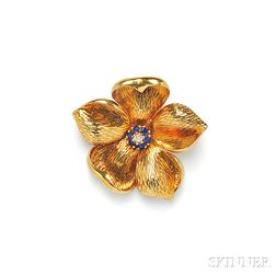 18kt Gold, Sapphire, and Diamond Flower Brooch, Tiffany & Co.