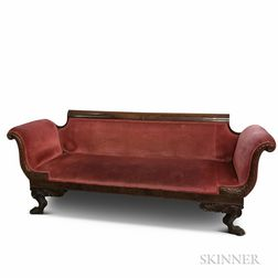 Classical Carved and Upholstered Mahogany Sofa