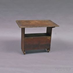 Red-painted Country Hutch Table