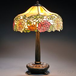 Mosaic Glass Chrysanthemum Lamp, Attributed to Wilkinson