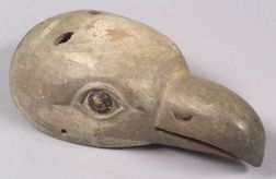 Painted Carved Wood Bird Mask