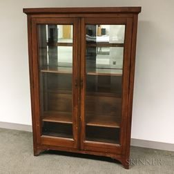 Glazed and Mirrored Walnut Bookcase