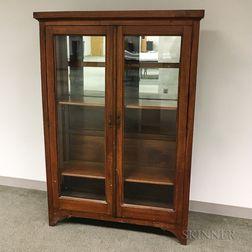 Glazed and Mirrored Walnut Bookcase