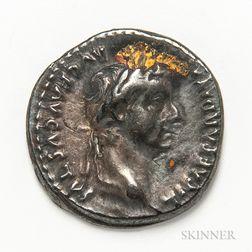 Roman Empire, Tiberius AR Denarius,