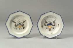 Two Polychrome Enamel Pearlware Eagle Plates