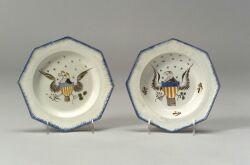 Two Polychrome Enamel Pearlware Eagle Plates