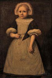 Continental School, 17th Century      Three-quarter Length Portrait of a Young Dutch Girl