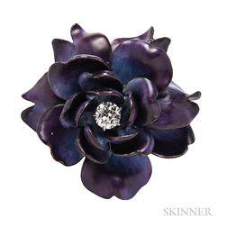 Antique Gold, Enamel, and Diamond Flower Brooch, Tiffany & Co.