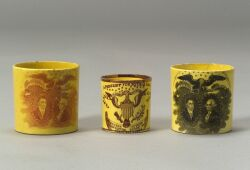 Three Historic Yellow Glazed Transfer Decorated Staffordshire Child's Mugs