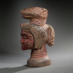 Temne Polychrome Carved Wood Head Crest Mask