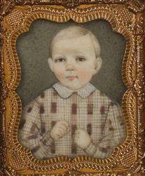 Augustus Fuller, (American, 1812-1873)  Miniature Portrait of  a Boy.
