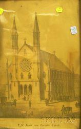 Framed 19th Century Lithograph St. James' new Catholic Church, Boston, Mass.