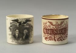 Two Historic Transfer Decorated Staffordshire Child's Mugs