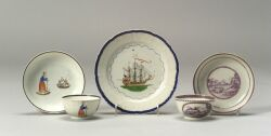 Three Pieces of Polychrome Decorated Chinese Export Porcelain