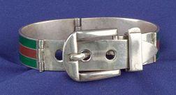 Sterling Silver and Enamel Bangle Bracelet, Gucci