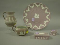 Five Wedgwood Lilac Jasperware Articles