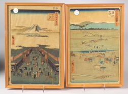 Two Prints by Hiroshige: Suruga Street