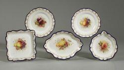 Royal Worcester Painted Porcelain Fruit Set
