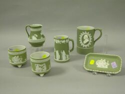 Six Light Green Wedgwood Jasperware Items
