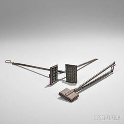 Two Miniature Wrought and Cast Iron Waffle Irons and Wafer Iron